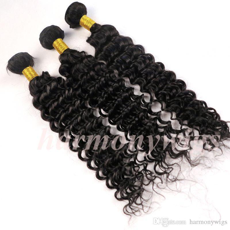 Cheveux vierges brésiliens tisse des faisceaux de cheveux humains Profondément des trames bouclées non traitées 8-34 pouces Indien péruvien malaisien Cambodgien cheveux extensi