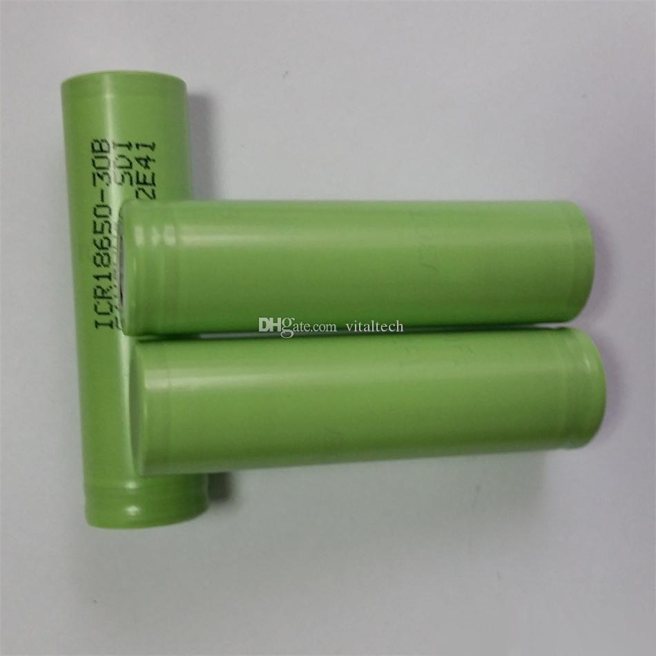 Retail Authentic ICR18650-30B 18650 3.7V 3000mAh Rechargeable Lithium Batteries Fit E Cigarettes Box Mods Flashlight