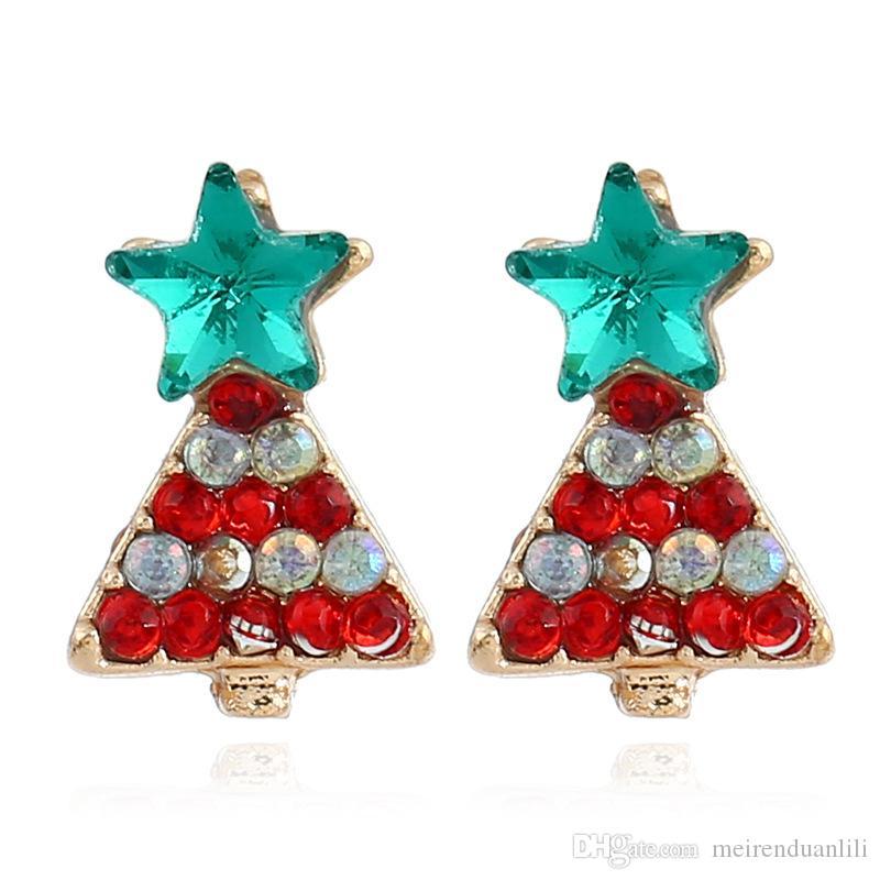 9 Stili Fiocco di neve Albero di natale Orecchini Bowknot Campanella di Natale Stivali di Babbo Natale di Natale le donne Ragazza regalo bambini Orecchino del partito