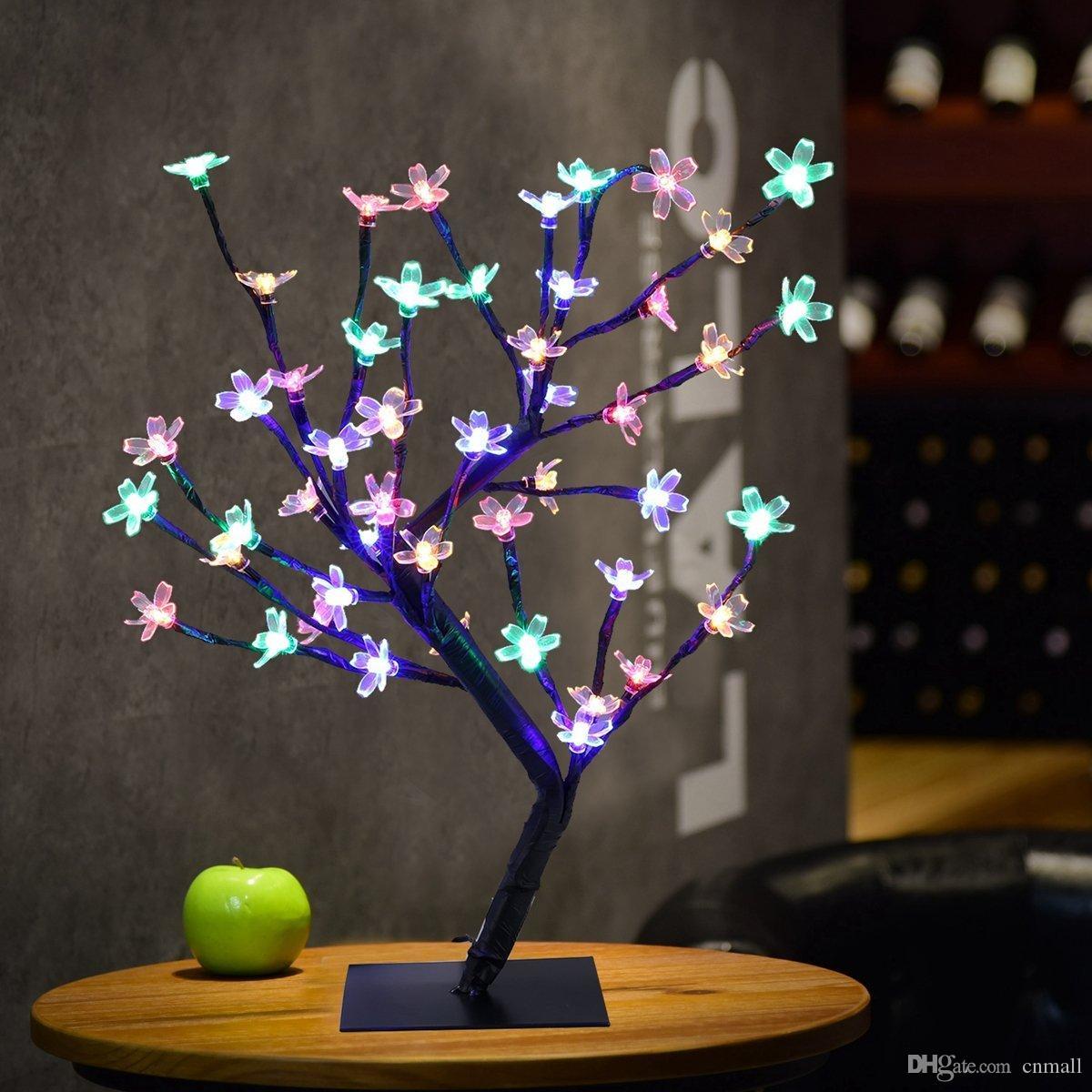 0.45 M / 17.72 Polegadas 48LEDs Cherry Blossom Desk Top Bonsai Árvore Luz Ramos Pretos para Festa Em Casa De Casamento De Natal Interior Ao Ar Livre Decoração