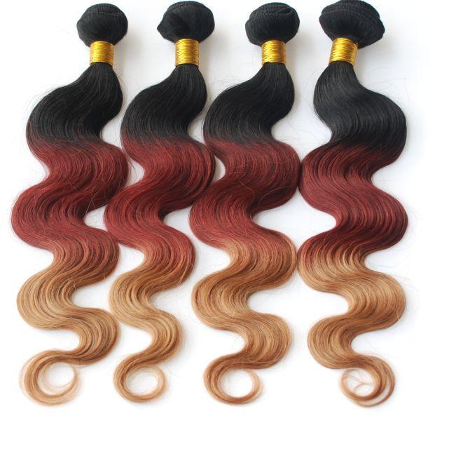 3 Tone Ombre Funmi Hair Brazilian Hair Weave Ombre Color 1b3327