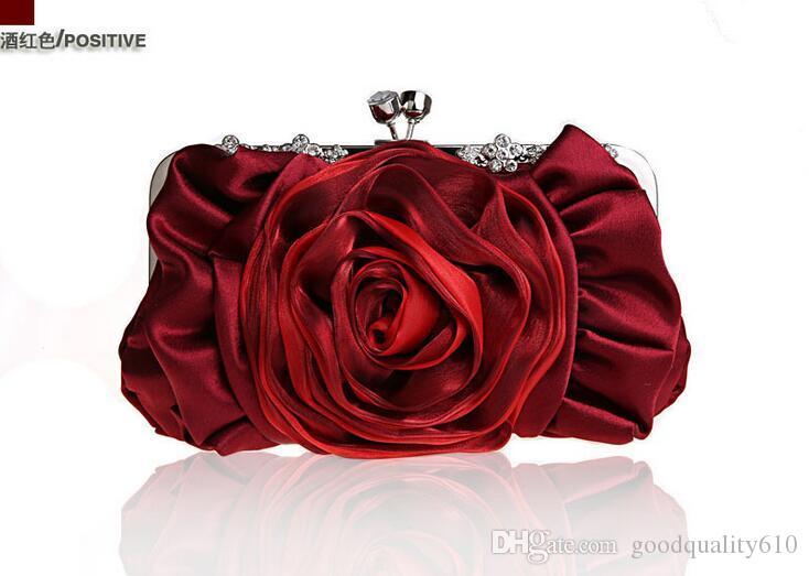 Moda elegante cetim Clutch Banquet Bag Purse Handbag nupcial Cadeia pulseira noiva do casamento 12 cores para escolher 2154