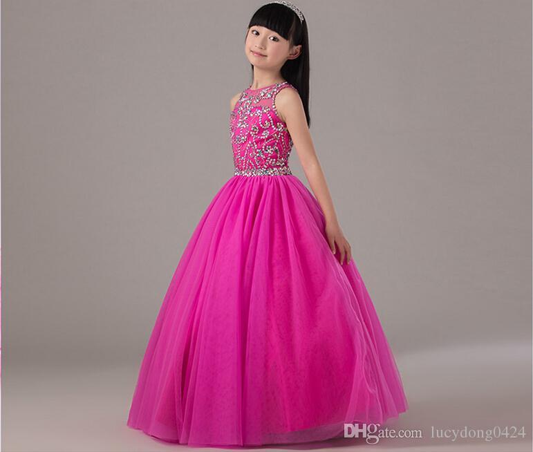 Bella principessa fucsia gioiello scollatura lungo fiore ragazza abiti perline tulle pavimento lunghezza abito di sfera backless wedding party girl dress