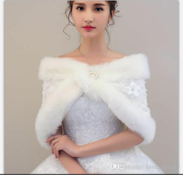 Jane Vini Elegant Lace Bridal Shrugs Faux Fur Wraps Pearl And Shawl Jacket For Wedding Party White Winter Warm Bridesmaid Bolero Accessories