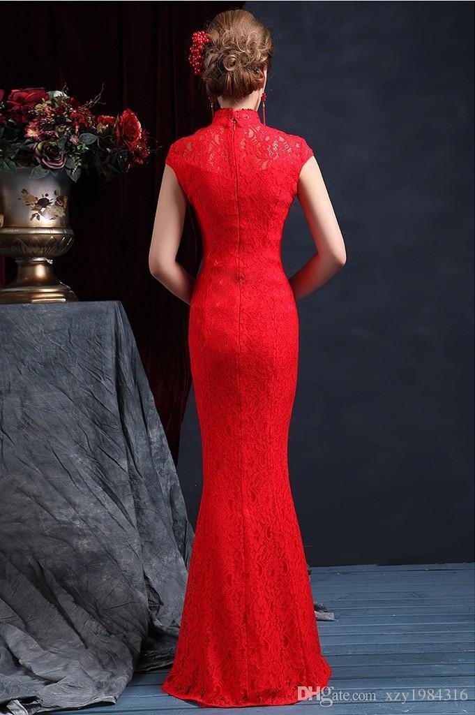 Wysokiej Jakości Wysoka Neck Bez Rękawów Chiński Mermaid Cheongsam Suknie Ślubne 2015 Długość podłogi Zipper Powrót Czerwona Koronkowa Suknia Ślubna Suknia