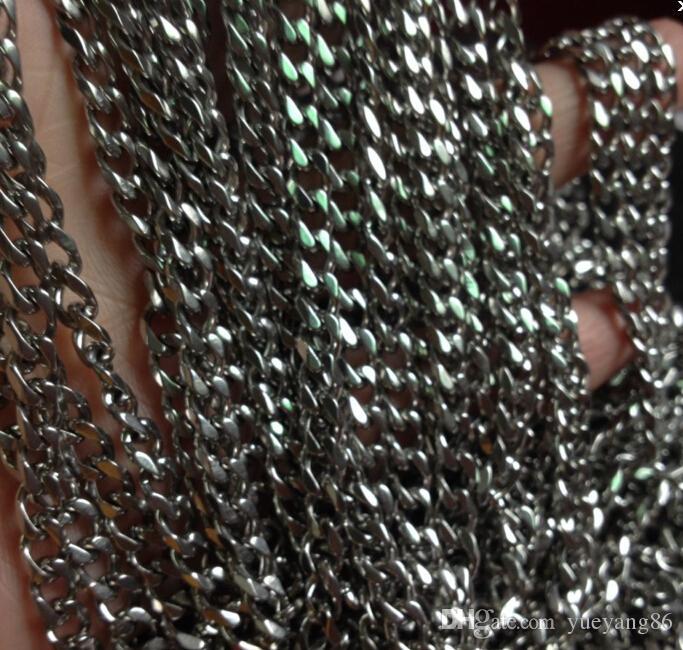 commercio all'ingrosso 5 tester / lotto 5mm largamente monili forti che trovano acciaio inossidabile argento liscio catena di collegamento del cavo della catena metallica che individua / contrassegno il braccialetto della collana di DIY