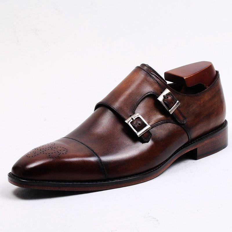 Zapatos Monje Hombres Becerro Color Vestir Marrón Doble A Piel Personalizados De Mano Genuina Hombre Hebilla Hechos OP8wnk0X