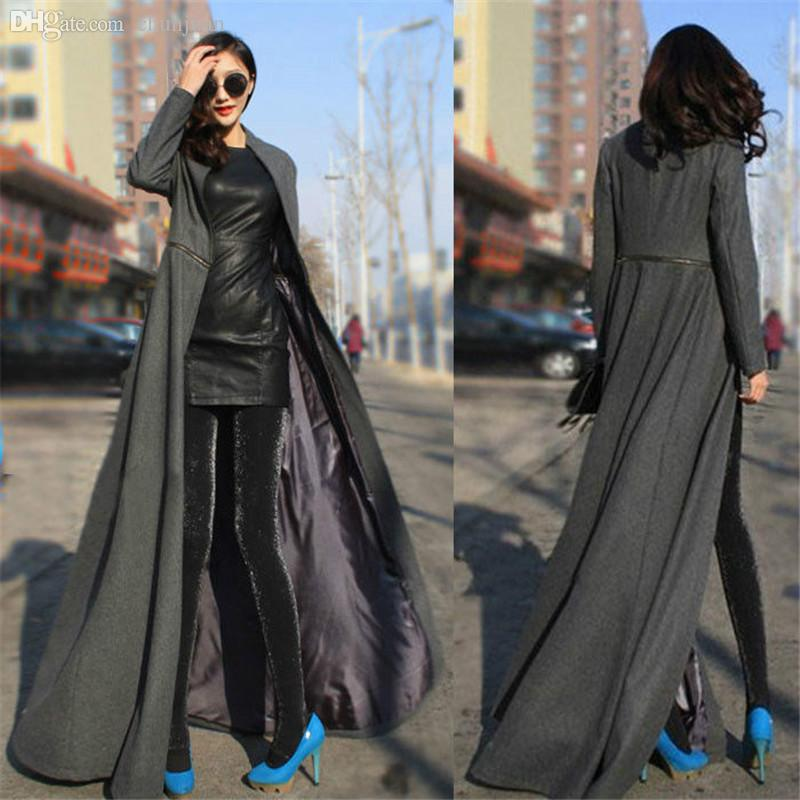 Chic Luxury Women Winter Autumn Wool Blend Floor Length Slim Fit Dress Long Coat