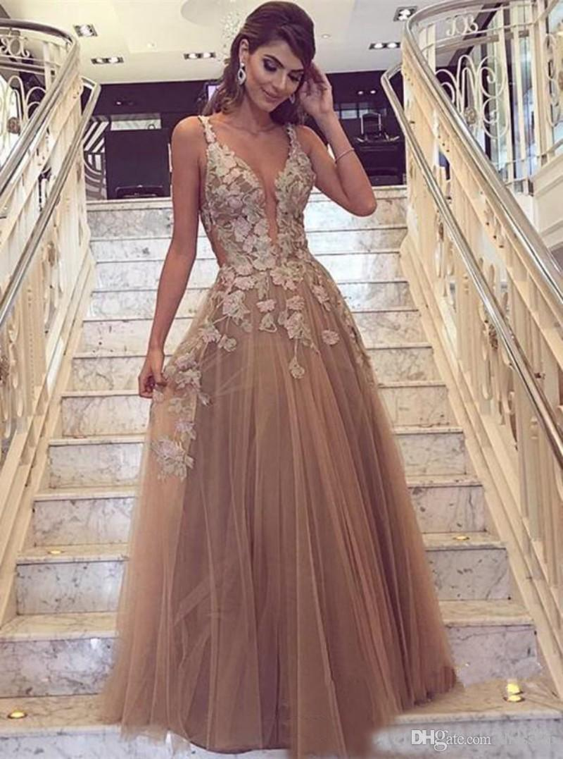 Elie Saab Deep V Neck Sexy Prom Dresses Tulle Applique Cheap Evening Dress  Floor Length Custom Made Formal Gowns Couture Evening Dresses Evening Black  ... ddff86a1dfd3