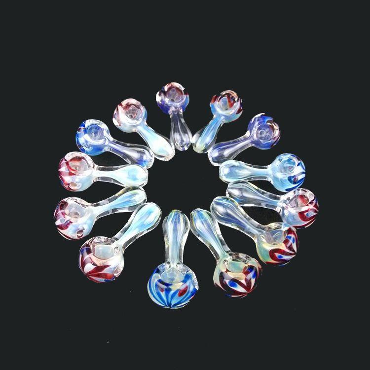 Glaspfeifen Beatuful Aussehen Tabakpfeife Mini Glaspfeife 2,3 Zoll Glas Handpfeife Bester Löffel Pfeifen Mischen Farbauftrag GP1007