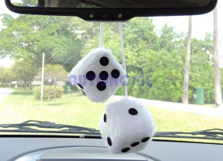 2019 1 X New Quality Pair Hanging Fuzzy Dice In White