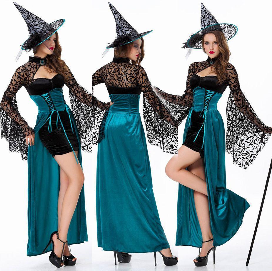 compre disfraces de halloween de la bruja de las mujeres juegos de rol juegos de concurso atractiva de los vestidos largos de encaje azul delgado de la