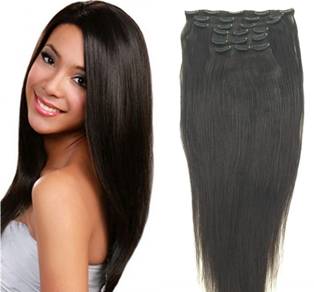 Italian Coarse Yaki Clip In Human Hair Extensions