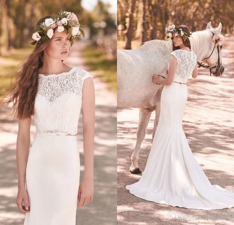 cc50275ec84b64 2018 Modest Two Pieces Lace Mermaid Wedding Dresses Sweep Train Crop Top  Wedding Dress Simple Country Beach Bridal Gowns Red Mermaid Wedding Dress  Satin ...