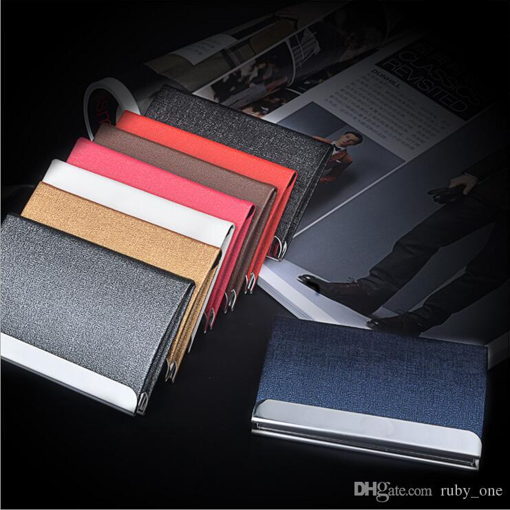 Business name card holder credit card holder big capacity unisex business name card holder credit card holder big capacity unisex visit card case metal wallet leather solid steel box yya940 wallet on a string hobo colourmoves