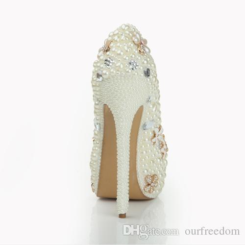 LSDN-1078 Fildişi Lüks Inciler Düğün Ayakkabı Platformu Yuvarlak Ayak Stiletto Topuk kadın Balo Parti Abiye Düğün Gelin Ayakkabıları