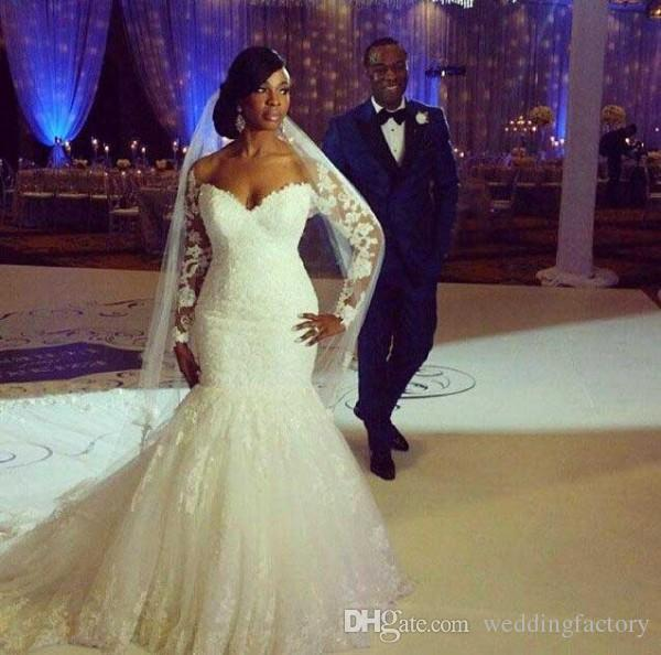 2015 Plus Size Fit and Flare Wedding Dresses Mermaid Bridal Gowns with Illusion Long Sleeves Lace Appliques Off the Shoulder Court Train