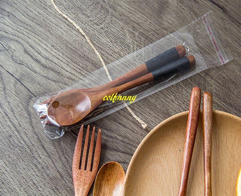 / Livraison gratuite 18 * 3cm Cuillère En Bois + Fourchette En Bois Cuisine Ustensile De Cuisine Outil Soupe Cuillère À Café Traiteur Outils