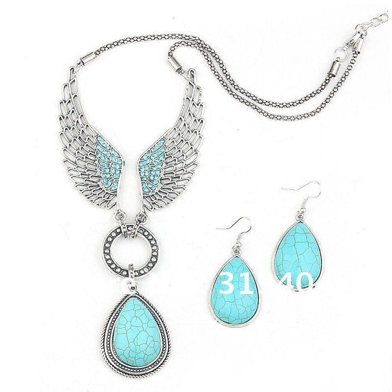 2014 hot sale angle wing turquoise jewelry set vintage tibet silver 2014 hot sale angle wing turquoise jewelry set vintage tibet silver necklace earring set turquoise jewelry alloy wings necklace earrings necklace set online mozeypictures Image collections