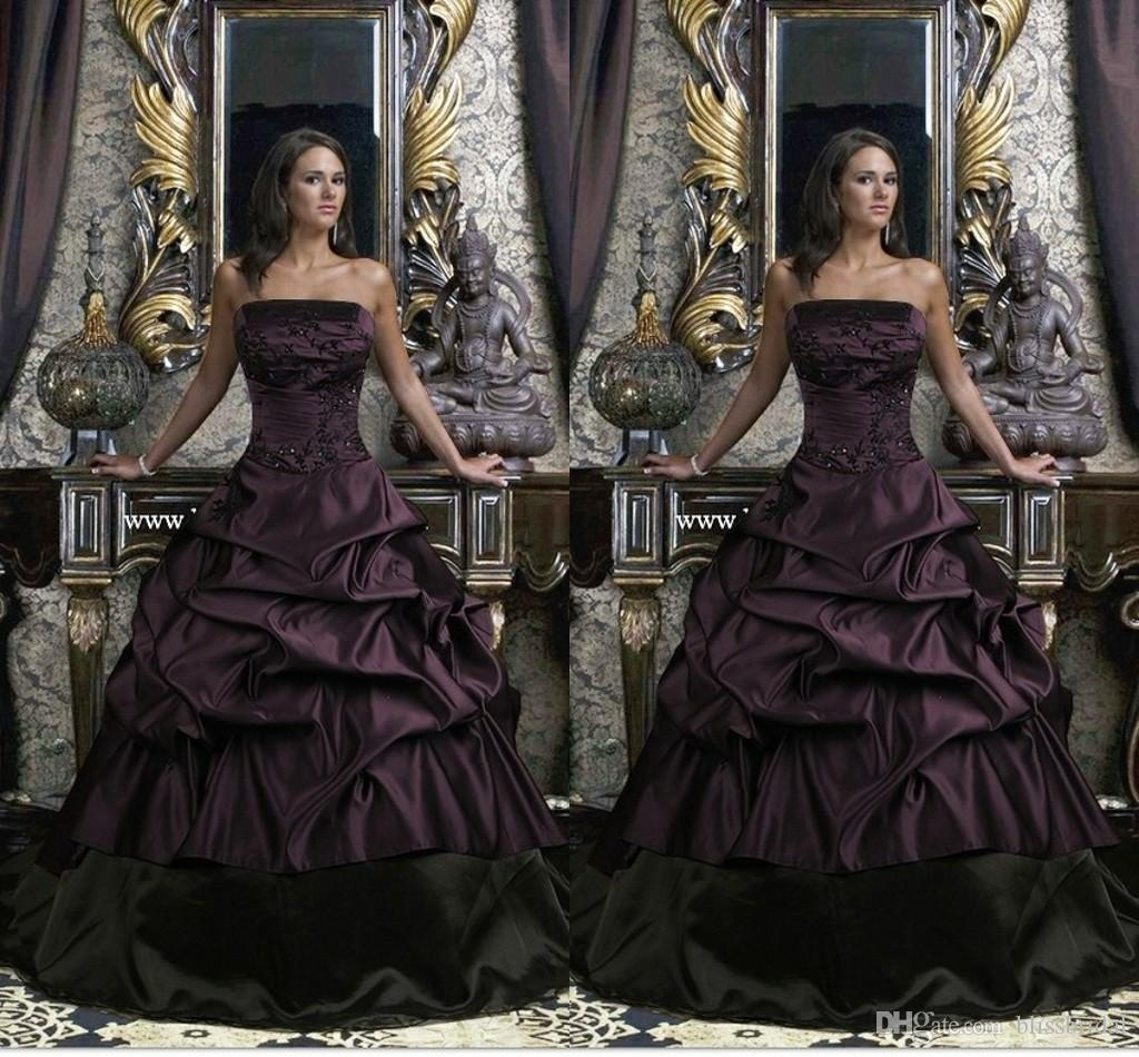 Ball Gown Gothic Wedding Dresses Black And Purple Strapless Floor ...