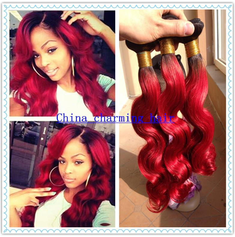 Brazilian ombre hair extensions body wave color 1b red dark root see larger image pmusecretfo Image collections