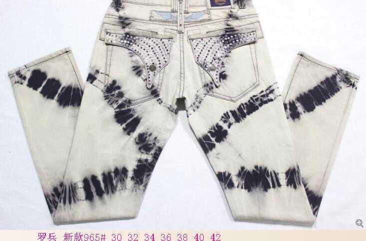 Keychain Spark Stone Distressed Rhinestone Jeans Men Embellished Jeans Straight Denim Classic Jeans Motorcycle Robin Cowboy Trousers Pants