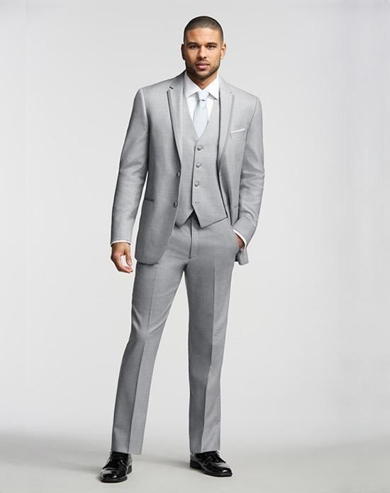 2015 Italian Light Grey Wedding Suits For Men Jacket Pants Tie  ...