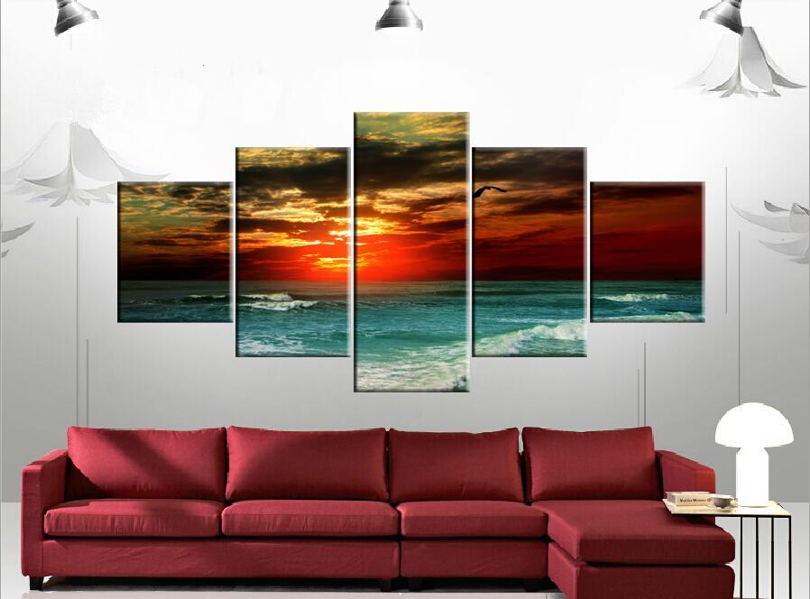 5 Parça Ücretsiz Kargo Sıcak Satmak Modern Ev Dekoratif Duvar Boyama Sanat Resim Tuval Baskı Boyaları Raging deniz Martı Günbatımı kızdırma