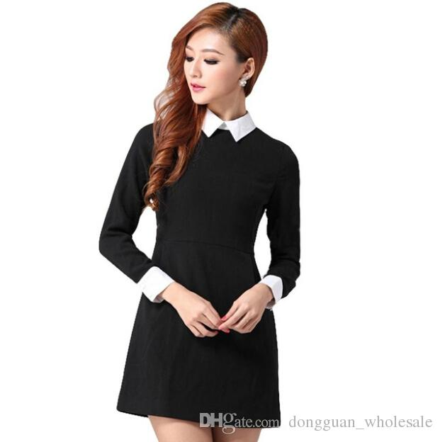 Women Dresses Long Sleeve Peter Pan Collar Office Ladies Black ...