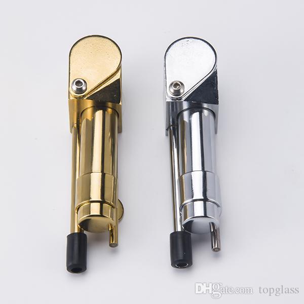 DHL Latón Proto Pipa de fumar Tubos portátiles de metal Color dorado China Herramienta definitiva directa Aceite de tabaco Hierba Cuenco oculto