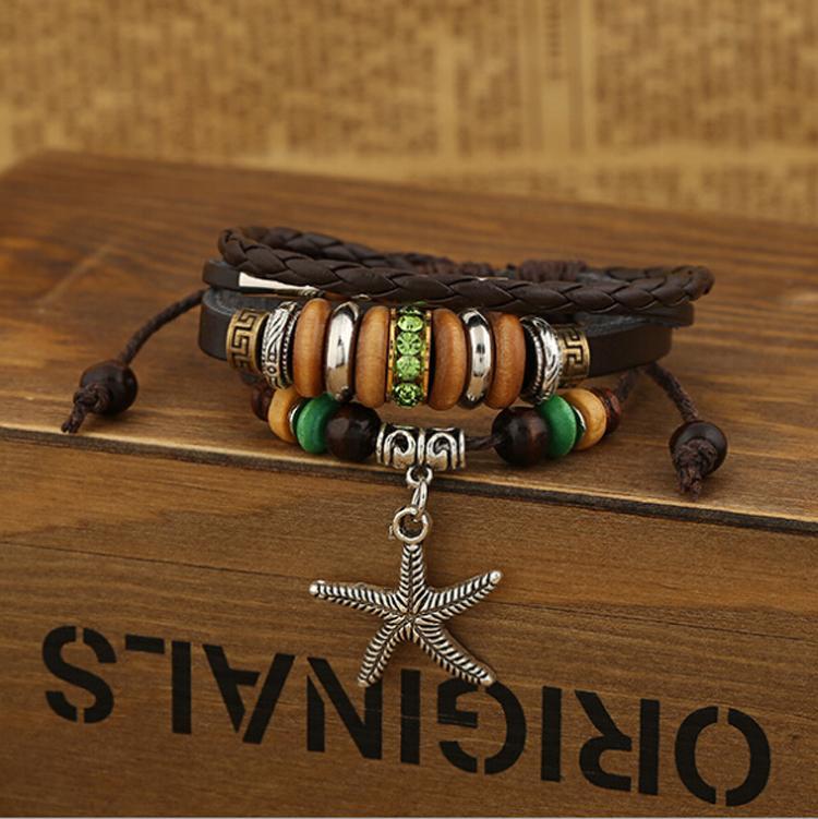 Fashion Starfish Charms Bracciali Infinity in rilievo di legno verde strass lega cerchio bracciali in pelle uomo gioielli