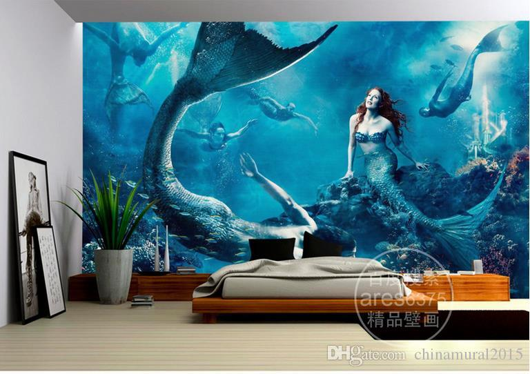 papel tapiz mural ventana Underwater World Mermaid wallpaper de mar