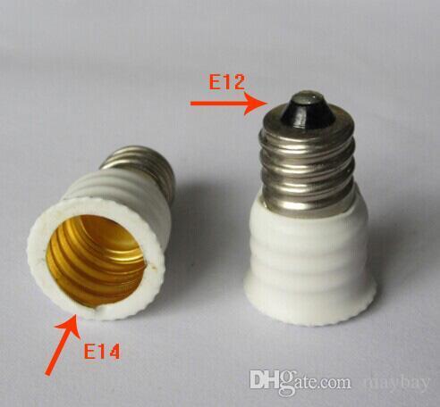 E12 bis E14 Sockel-Adapter LED-Licht-Halter-Konverter Weiß