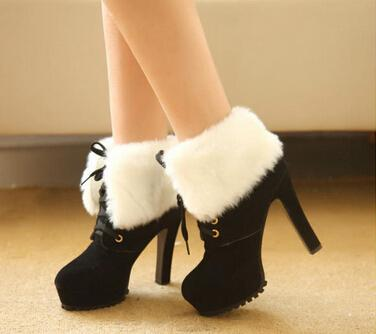 3a65df289bb Women Suede Ankle High Heel Boots Fashion White Thin Heel Fur Boots Martin  Lace Up Vintage Furry High Shoes Black Heel Boots bk