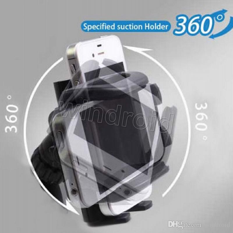 For Iphone 7 Universal Car Holder 360 degree rotation car Holder For Smart Phone PDS GPS Camera Recoder With Retail Package Free DHL