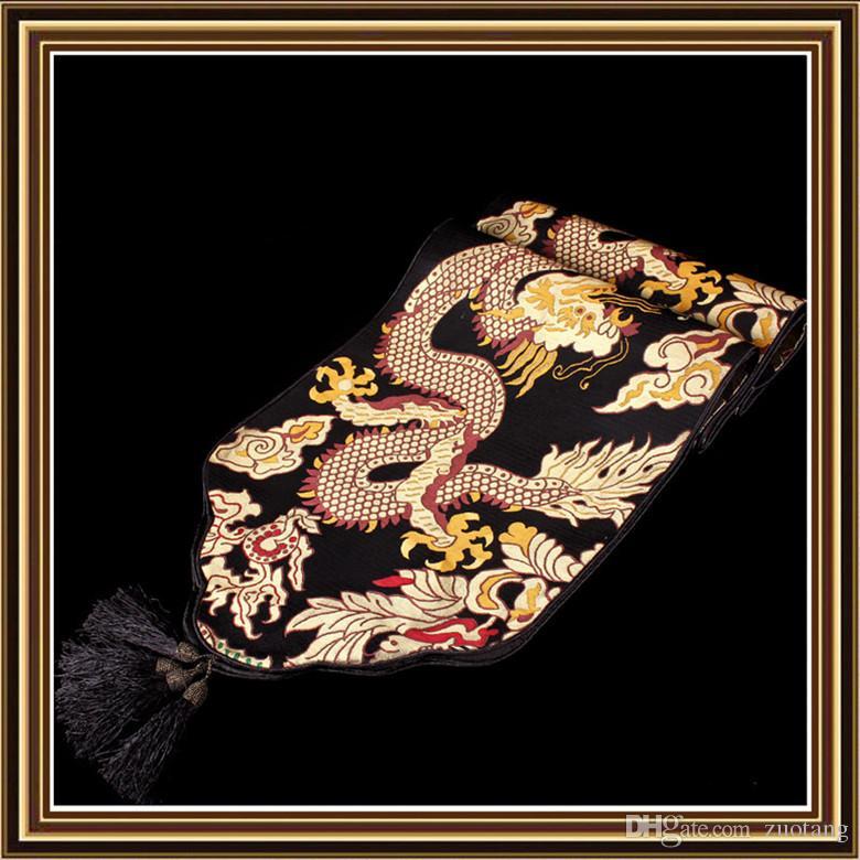 Thicken Dragon Patterns Table Runner Chinese stijl High-Density Silk Brocade Koffietafel Doek Eettafel Matten Home Decoraties 4 Grootte