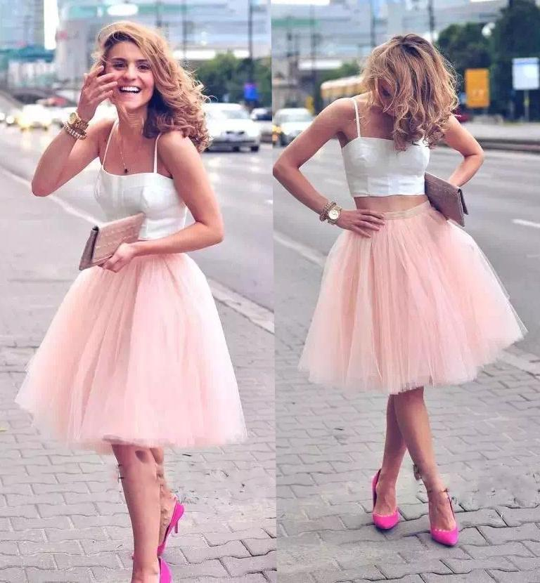 2016 Instock Cheap Summer Tiered Tutu Skirt Tulle Short Bridesmaid Dresses 7 layers Female Party Skirts Girls Fashion Ball Gown Knee Length