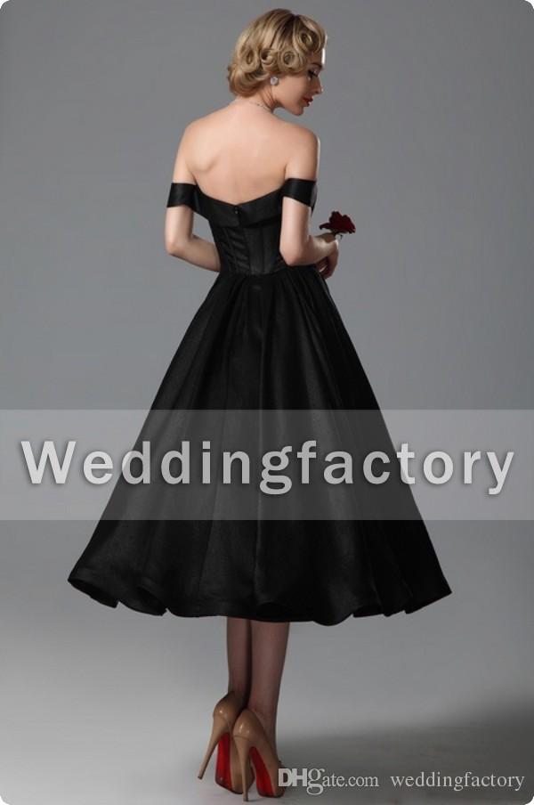 Vintage Black Wedding Dresses A Line Sweetheart Off Shoulder Tea Längd Brudklänningar Skräddarsy för Brides Formell Party Gown