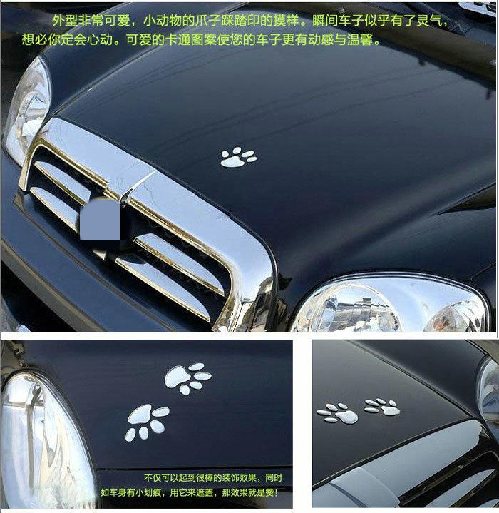 12sheets Hot Sale 3D Car Window Bumper Body Decal Sticker Bear Dog Animal Paw Foot Prints Pattern Sticker Gold Silver Tone Free