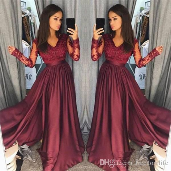 e15f96d39ca Modest Long Sleeves Burgundy Prom Dresses Satin Lace V Neck A Line Zipper  Formal Party Gowns Custom Made Occasion Dresses Evening Wear Black And  White Prom ...