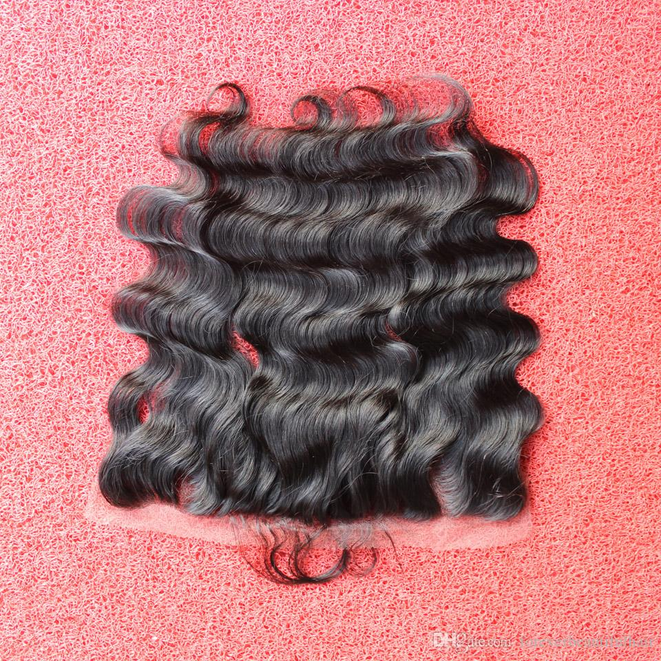"13x4"" Cheap Peruvian Lace Frontal Closure 100% Unprocessed Human Hair Bleached Knots Virgin Frontal Body Wave Full Lace Frontal"