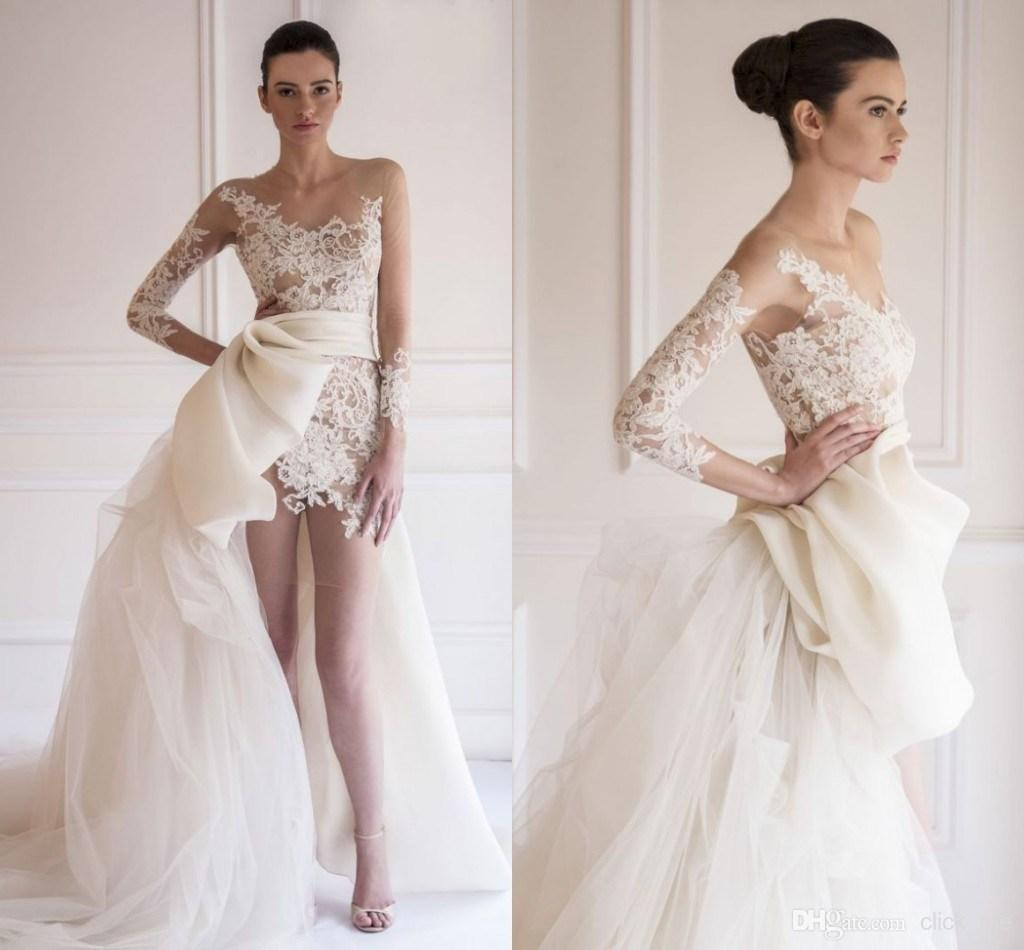 Vintage Women Simple Chiffon Backless Cheap Mermaid: 2016 Casual Short Lace Wedding Dresses With Detachable
