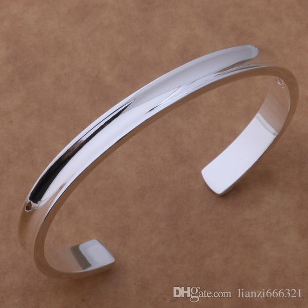 with tracking number Best NEW 925 STERLING SILVER BIG SMOOTH WIDE CUFF BANGLE BRACELETS 7MM CHRISTMAS GIFTJEWELRY 1313