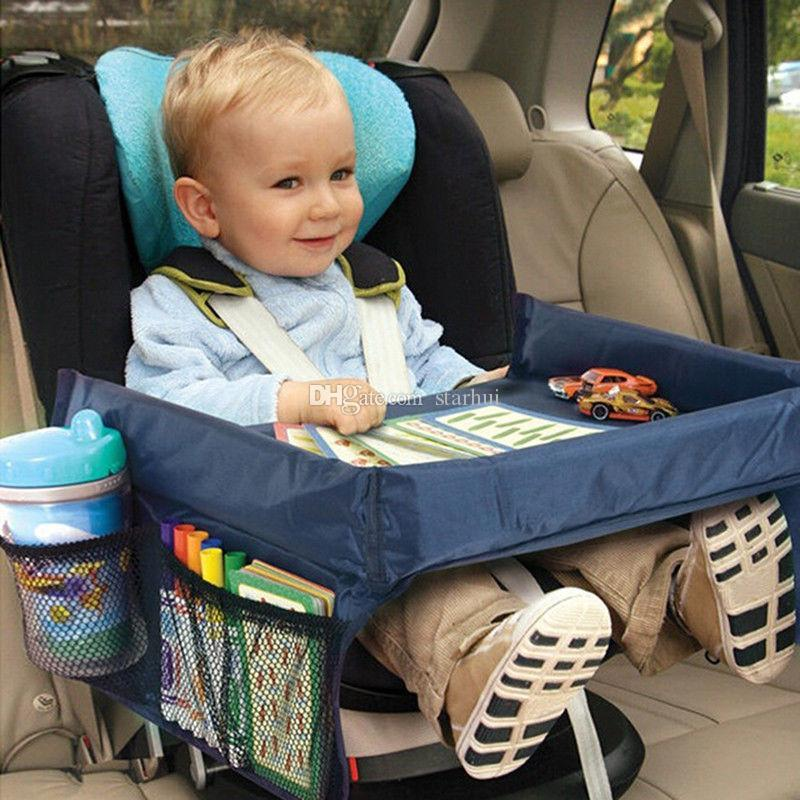 New Children Table Baby Car Safety Belt Travel Play Tray Waterproof Foldable Table Kids Car Seat Cover Pushchair Snack Desk WX9-170