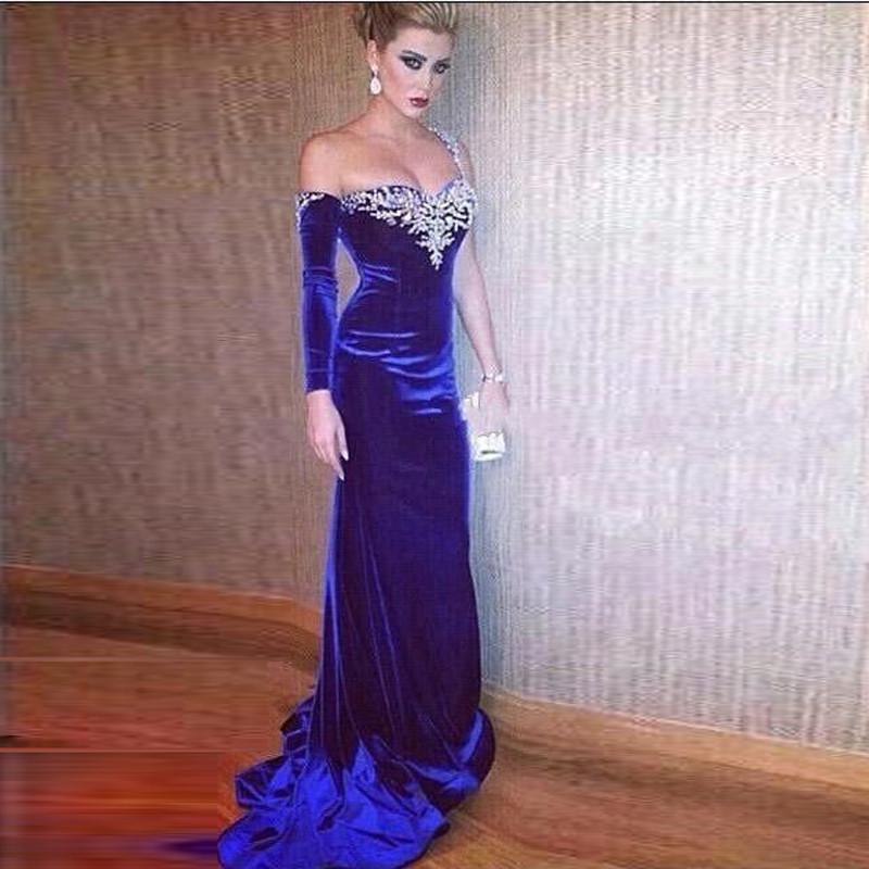 Compre Fabuloso Vestidos De Noche Azul Real Una Manga Larga De ...
