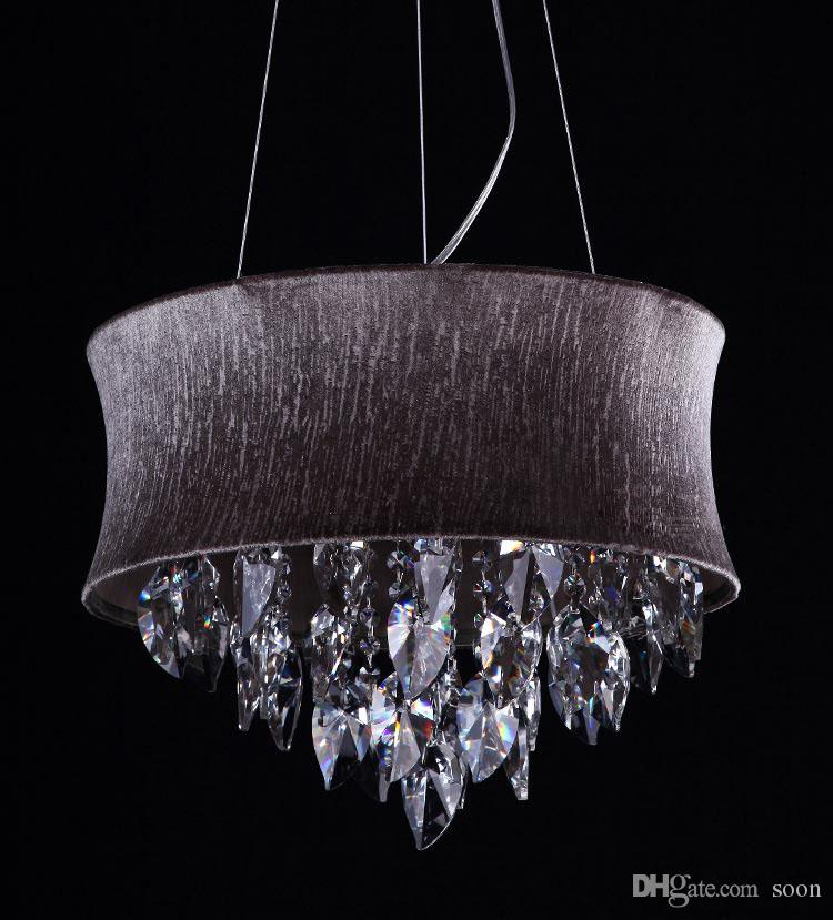Smoke Grey Crystal Drum Chandeliers Light Pendant