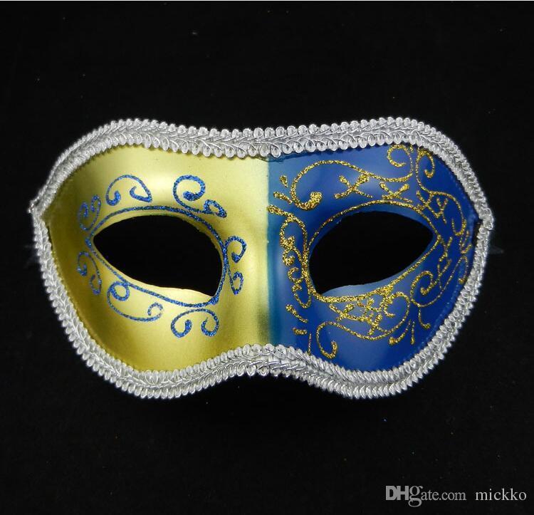 Erkekler Masquerade Maskeleri Dantel Çevreleyen Erkekler için PVC Masquerade Maskeleri Mezuniyet Bar Kulübü Prens Caz Cadılar Bayramı Maskeleri