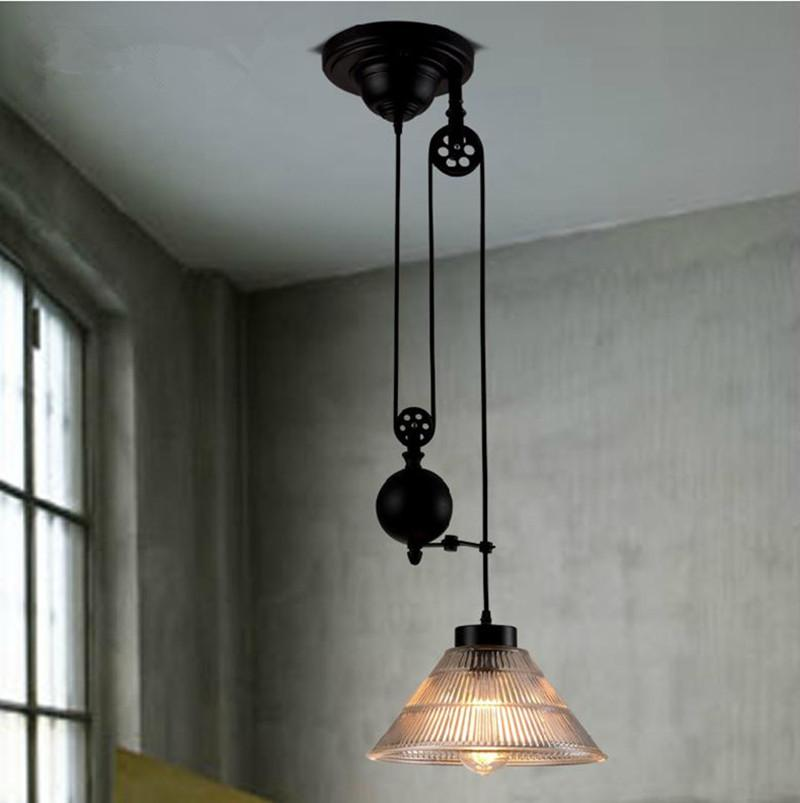 discount new modern loft vintage edison industrial pulley pendant lights wadjustable wire lamps for dinning room kitchen coffee bar brushed nickel pendant
