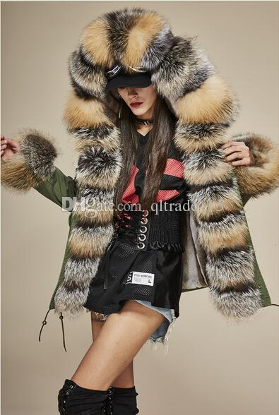 2018 Jazzevar army green fox and rabbit lined Camouflage shell parka warm parkas with fox fur trim short style