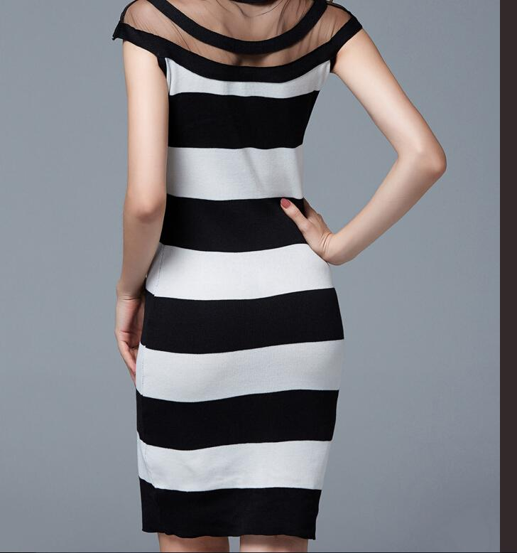 2016 Spring/Autumn Women Clothes Round Neck Sexy Slim knit Dress Sleeveless Vest Package Hip Skirt Sheer Summer Dresses for Womens
